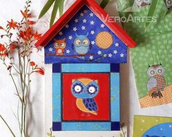 Mosaic Owl Wall Keychain Holder