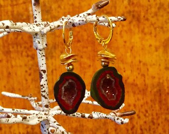 Red Geode Earrings