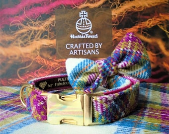 Pink and Purple check Harris Tweed Dog collar and detachable bow tie set