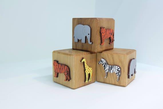 Oak Safari Blocks Wooden Toys Educational Toys Childrens Etsy