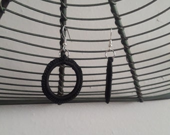 Crochet Black Hoops
