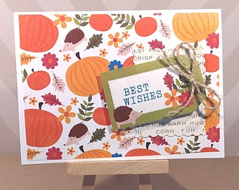 SALE Best Wishes Autumn Hedgehog Card - Best Wishes Card - Rustic Card - Fall Greeting Card - Handmade Greeting Card with Envelope