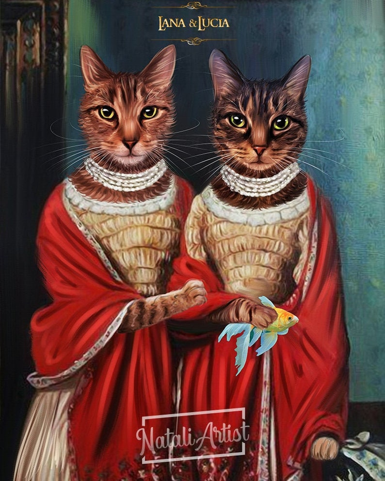 Regal family portrait Portrait from photo Pet Royal Queen Personalized family portrait Renaissance portrait Custom couple portrait