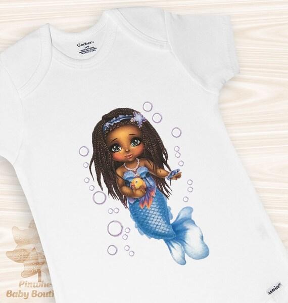 949bc9bcf Mermaid Onesie African American Baby Girl Clothes Baby Shower