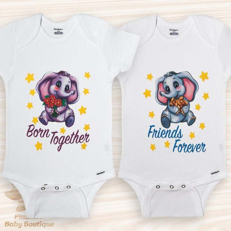 02db58e50 Twin Onesies® Twin Baby Clothes Born Together Friends Forever   Etsy