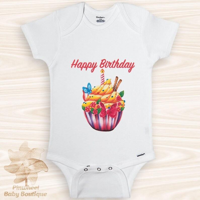 Happy Birthday OnesieR Cupcake Onesie First Baby
