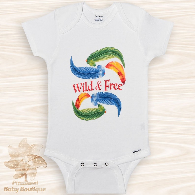 Wild and Free Baby Onesie® Boho Baby Clothes Feather Onesie image 0