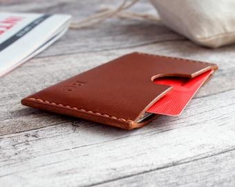 Leather Card Holder Front pocket wallet Groomsmen gift Personalized card sleeve credit business card wallet Monogrammed cognac 100% HANDMADE