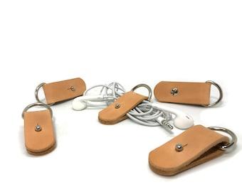 Leather Cable Holder SET   Earphone Holder Headphone CORD Holder cord keeper iphone cord wrap earbud   HANDMADE