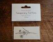 "3"" Daisy Temporary Tattoos | Set of 2 hand drawn floral temporary tattoos"