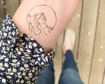 8662cfc78 Mountain Temporary Tattoo | Set of 2 | Hand drawn small wrist tattoos