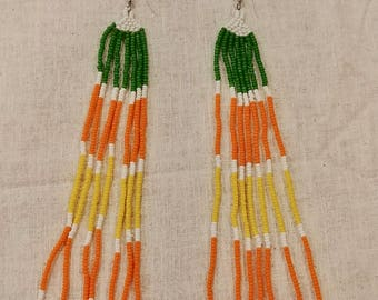 Handcrafted Native American inspired earrings, green, orange, yellow, white, shoulder dusters