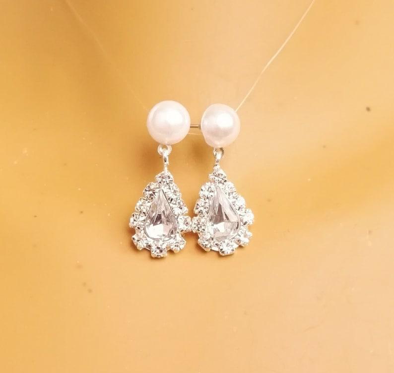 Beaded Bride Jewelry Set White Pearl Jewelry Set and Earring Set Wedding Jewelry Bridal necklace Rhinestones Jewelry Set