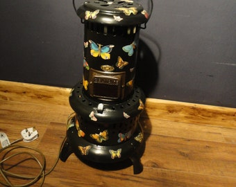 Super Upcycled Converted Vintage Beatrice Paraffin Oil Heater Lamp German Butterfly's Ruby Glass
