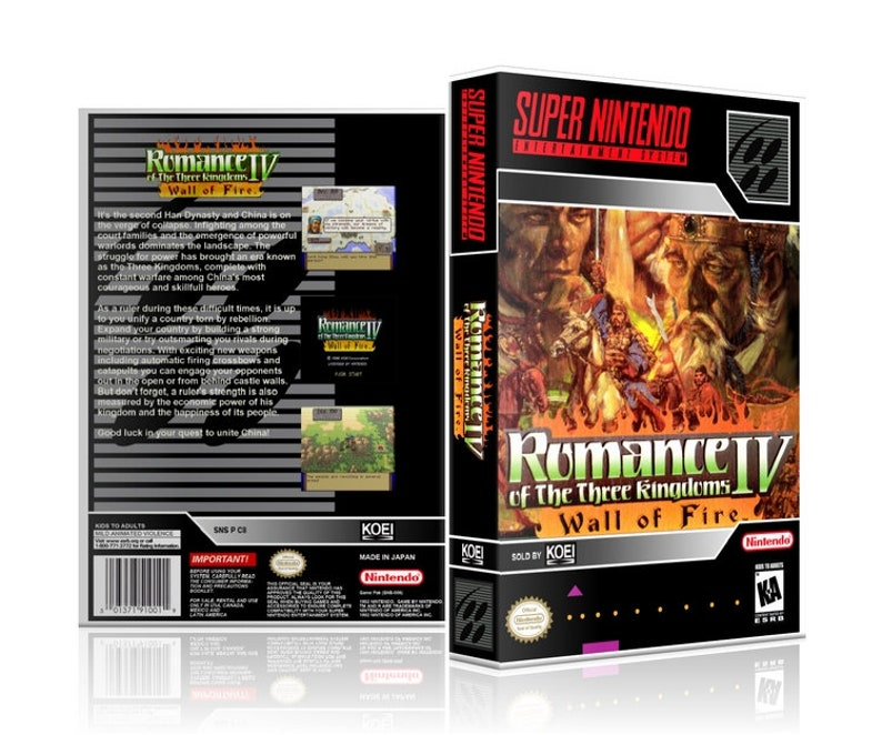 Romance of the Three Kingdoms IV 4 Super Nintendo SNES UGC Video Game  Collector's Case with Professional Grade Cover Art