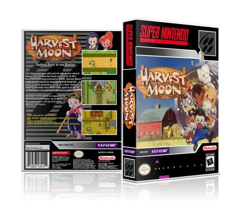 Harvest Moon SNES UGC Video Game Collector's Case with Professional Grade  Cover Art