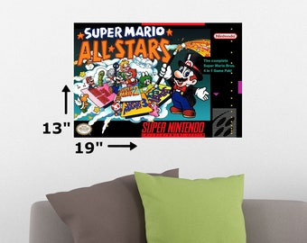"19"" x 13"" Super Mario All Stars SNES Super Nintendo Cover Art Retro Wall Poster Print"