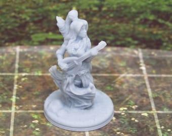 Singing Dancing Woman Bard W/ Guitar Mini Miniature Figure 3D Printed Model 28/32mm Scale RPG Fantasy Games Dungeons Dragons Tabletop Gaming