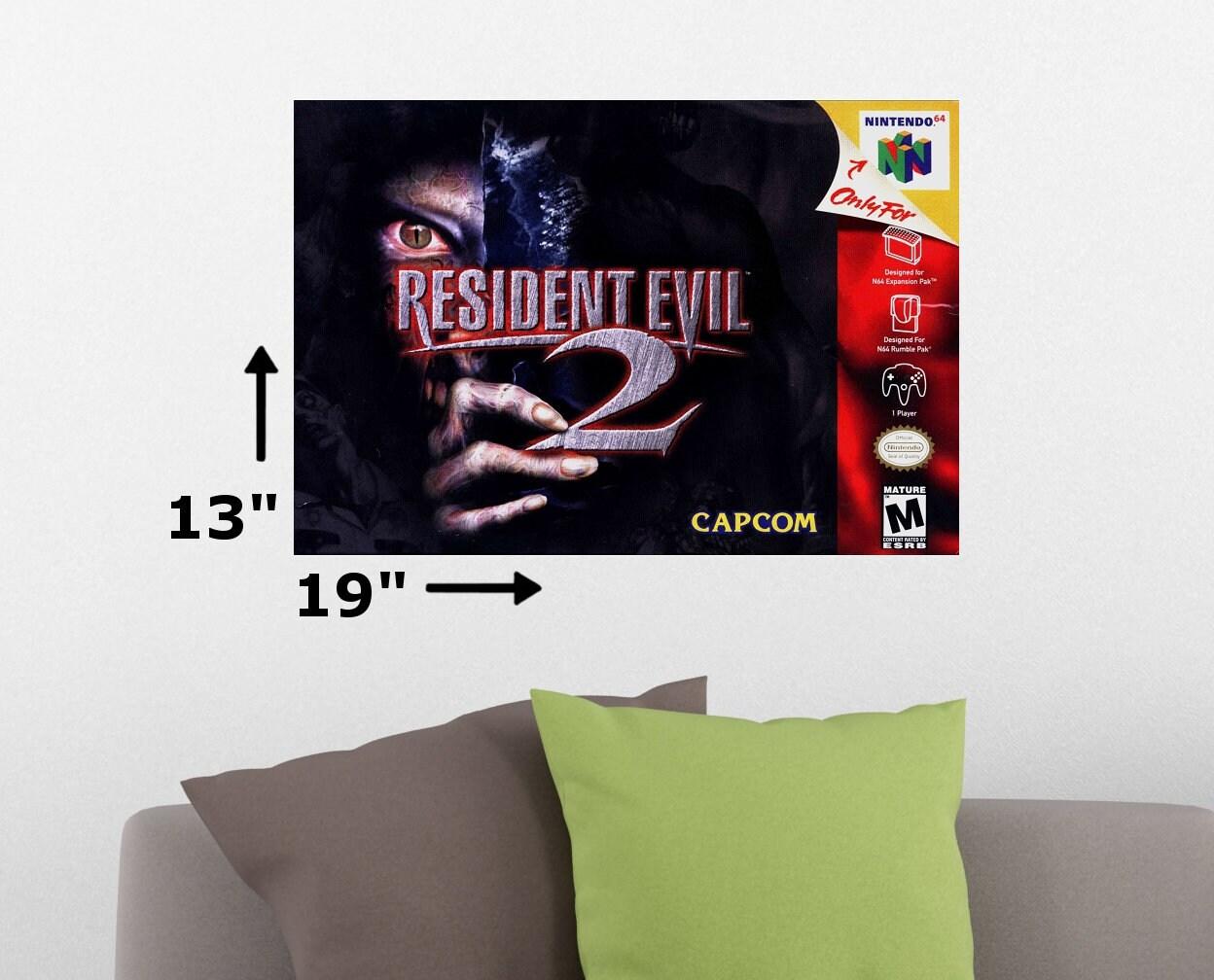Resident Evil 2 N64 Nintendo 64 Cover Art Retro Wall Poster Print