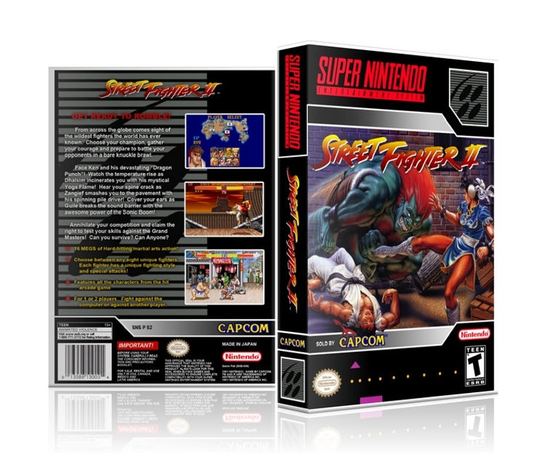 Street Fighter II 2 Super Nintendo SNES UGC Video Game Collector's Case  with Professional Grade Cover Art