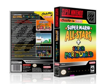 Super Mario All Stars & Super Mario World Super Nintendo SNES UGC Video Game Collector's Case with Professional Grade Cover Art