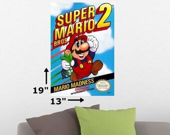 "19"" x 13"" Super Mario Bros. 2 Brothers NES Nintendo Cover Art Retro Wall Poster Print"