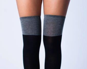 65b8c56764957 Black and Gray Thigh High Socks