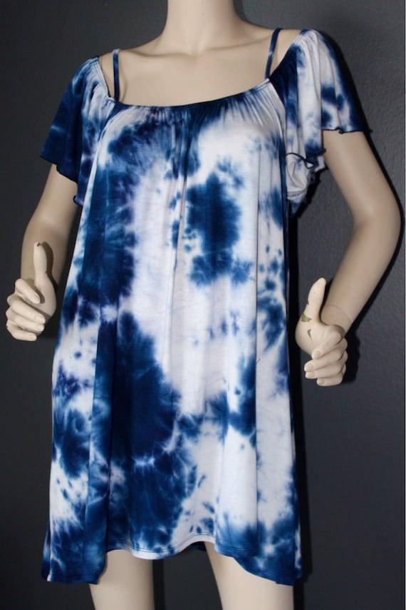 Off shoulder Dress on tie dye, summer dress, short dress, beach dress, perfect for summer