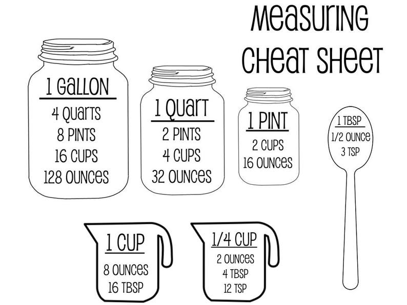 Measurement Cheat Sheet SVG  Kitchen SVG  Measurement SVG  image 0