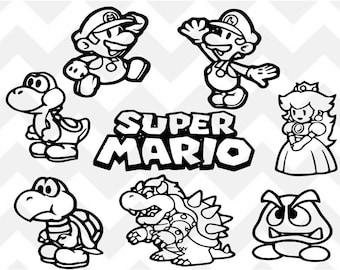 Super Mario SVG, Mario SVG, Luigi SVG, Bowser svg, Princess Peach svg, Yoshi svg, Silhouette Cricut, svg cut file