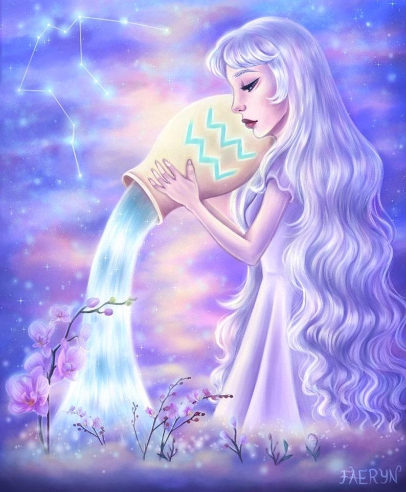 Aquarius - Zodiac, Astrology, 8 5x11 Fine Art Print, aquarius art, aquarius  zodiac, constellation, pop surrealism