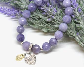 Natural angelite gem stone elastic woman, girl round bead  bracelet