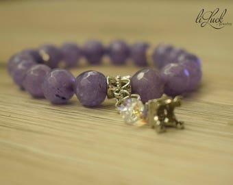 Natural angelite gem stone elastic woman bracelet with silver plated elements, swarovski crystal