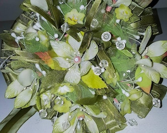 Keepsake green wedding bouquet.  Handmade clay flowers