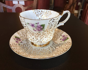Queen Anne China teacup - pattern 393 forget me knots