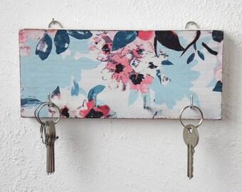 Boho key hook key holder for wall hooks key rack wall decor wood wall hooks blue holder wall key holder key organizer key hanger gift home