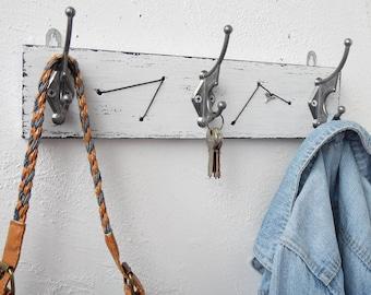 Coat rack Coat hook  Wood coat rack Wall coat rack distressed white Coat hooks Coat hanger Wall coat hooks Entryway coat hooks Wall hooks