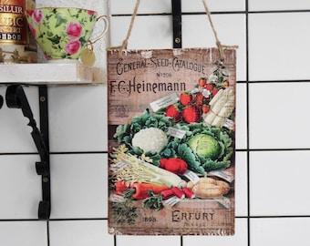 Vegetable Wooden Sign, Kitchen Art Sign Vegetable,  Kitchen Decor, Kitchen Art, Kitchen Print