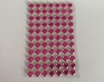Stickers 77 hearts pink 10mm rhinestones