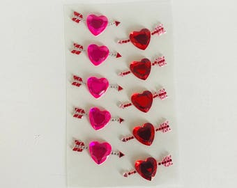 Rhinestone stickers 10 hearts pink and Red