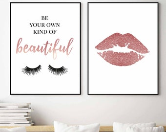 bb17eaacc7c Eyelashes Print,Makeup Art,Be your own kind of beautiful,Pink wall  art,Salon decor,Lashes Art,Beauty Print,Rose Gold,Teen Girl Room,Pink art