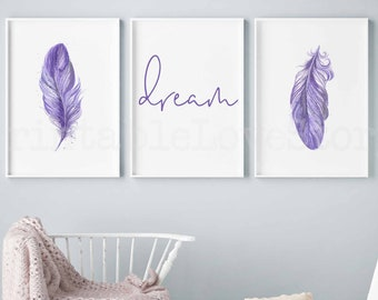 Purple Bedroom Art Etsy