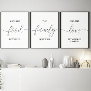 set of 3 printablebless the food before usdining room decor kitchen wall arthome decorkitchen decorkitchen signsbible verse wall art - Kitchen Wall Art