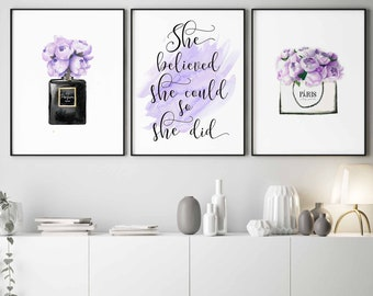 Purple wall art | Etsy