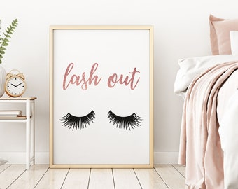 Lash Out, Eyelashes Print,Makeup Art Print,Lashes Art,Beauty Print,Mascara  Print,Chic Bedroom Decor,Rose Gold,Teen Girl Room,Digital Print