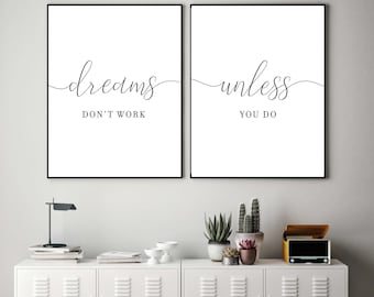 Dreams Donu0027t Work Unless You Do,Office Decor,Office Wall Art,Printable  Quotes,Office Sign,Cubicle,Set Of 2 Office,Dorm Decor,Dorm Wall Art,