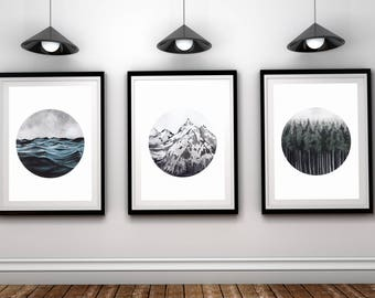 Set Of 3 Landscape Art Forest Ocean Mountain Printable Nature Prints Piece Wall Modern Minimalist