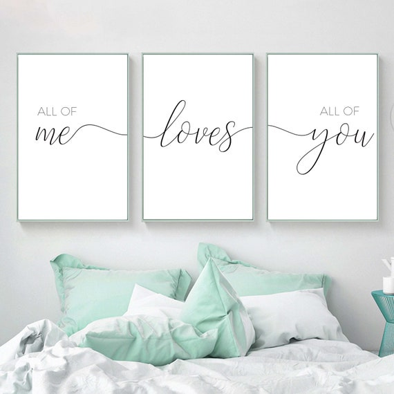 Set of 3 Prints,All Of Me Loves All Of You Print,Bedroom quotes,Above bed  print,Nursery Decor,Set Of 3 Prints,Couple Print