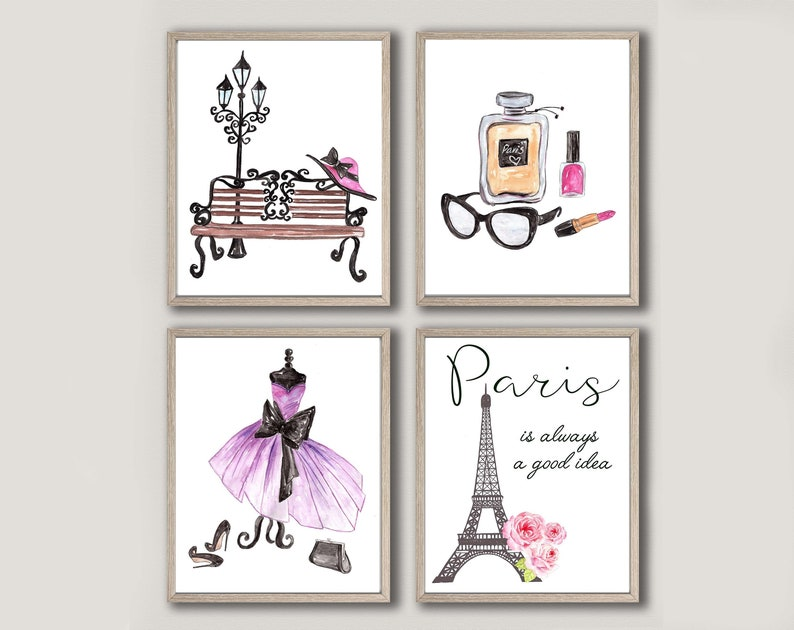 Paris Art,Paris Decor,Teen room decor,Paris Print,Paris is Always a Good  Idea,Paris Bedroom Art,Paris watercolor,Makeup print,Fashion print
