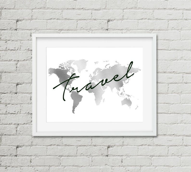 World Map Print,Silver Foil Map,Travel poster,Adventure,Faux foil Map,Map of the World,Travel gift,office decor,silver print,travel decor,